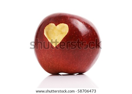 Forbidden fruit red delicious apple with a love heart shape bitten into the flesh - stock photo
