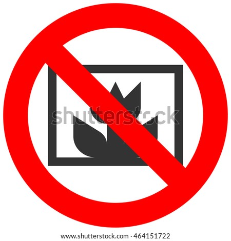 Forbidden sign with abstract flower icon isolated on white background. Using flower is prohibited illustration. Flower is not allowed illustration. Flowers are banned.
