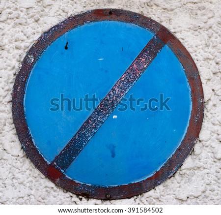 Forbidden traffic sign on blue - stock photo