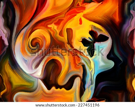 Forces of Nature series. Creative arrangement of colorful paint and abstract shapes as a concept metaphor on subject of modern art, abstract art, expressionism and spirituality - stock photo