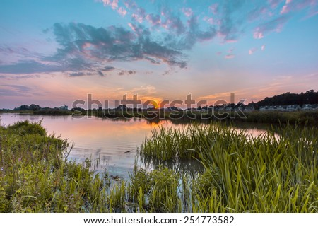 Fore lands of the river Rhine with the city of Wageningen in the backdrop - stock photo