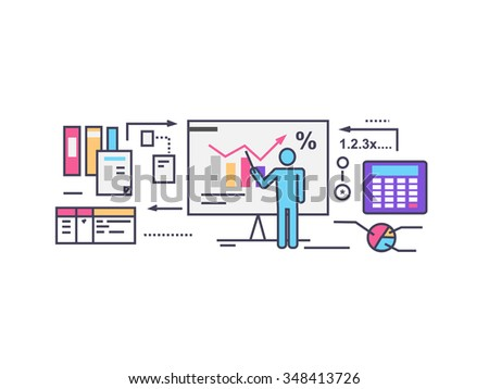 Forecast concept icon flat style. Business growth graph, finance market progress chart, financial investment, profit marketing, diagram stock increase, report and statistic data. Raster version - stock photo