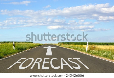 Forecast - Street with arrow and text - blue sky and some clouds in the background - stock photo