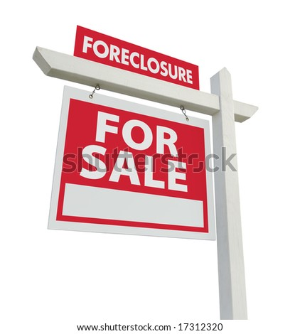 Foreclosure For Sale Real Estate Sign Isolated on a White Background. - stock photo
