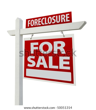 Foreclosure Home For Sale Real Estate Sign Isolated on a White Background with Clipping Paths - Right Facing. - stock photo