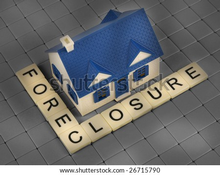 Foreclosure house with letter tiles view from above - stock photo