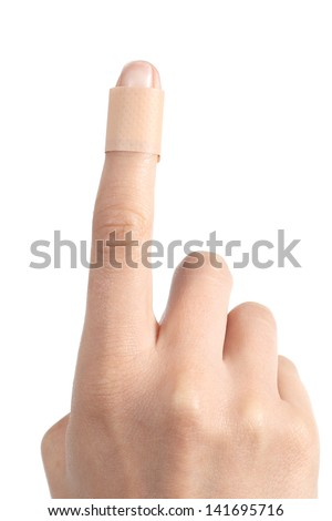 Forefinger of a woman hand with a band aid isolated on a white background - stock photo