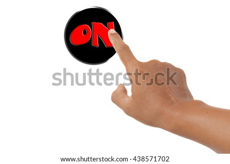 forefinger pressing on button - stock photo