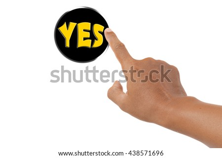 forefinger pressing yes button - stock photo