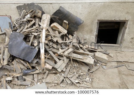 forefront of some debris located on a sidewalk - stock photo