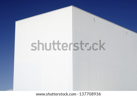 forefront of the facade of an industrial building - stock photo