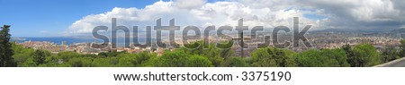 Foreground cross with the city and the mediterranean sea - Marseille - South of France - Panorama. - stock photo