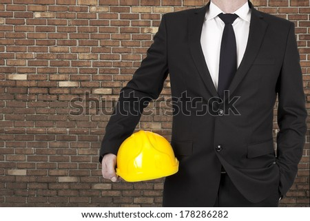 Foreground lifestyle businessman in suit and tie - stock photo