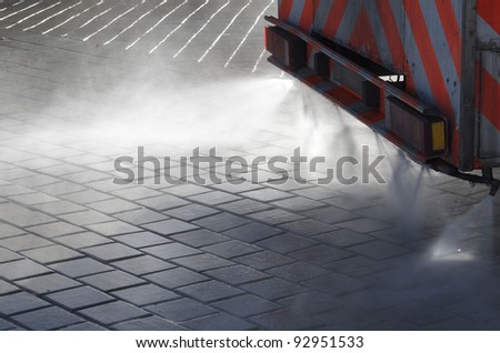 foreground of a cleaning machine for water spray - stock photo