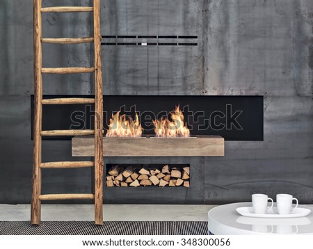foreground of a fireplace covered with metal slabs in modern living room - stock photo