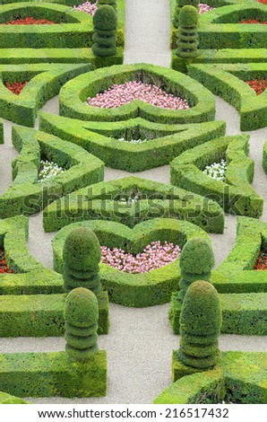 foreground of the garden of the castle of Villandry, Loire Valley, France - stock photo