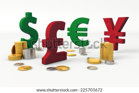 Foreign currencies symbols: Dollar, Pound Sterling, Euro and Yen - stock photo