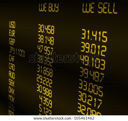 Foreign Currency Exchange Rate on Display - stock photo