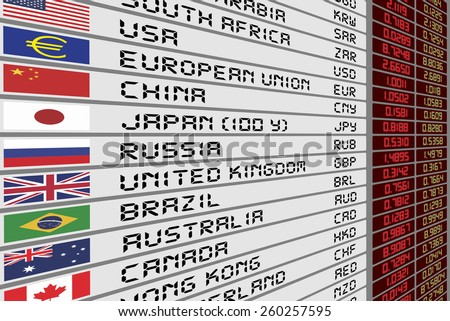 Foreign Currency Exchange Rates On Digital Stock Illustration