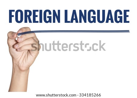 Foreign Language word writting by men hand holding blue highlighter pen with line on white background - stock photo