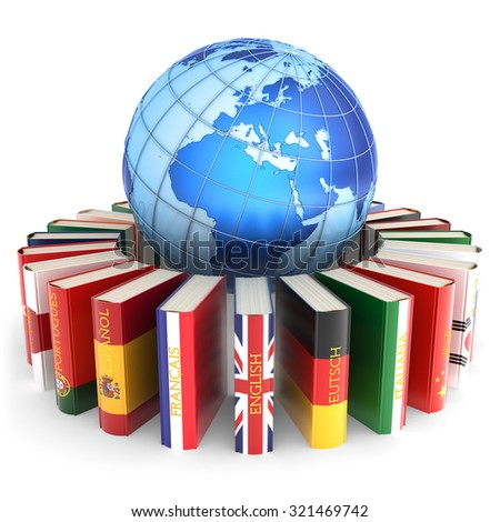 Foreign languages learn and translate education concept, books in colors of national flags of world countries around Earth globe isolated on white background (Elements of this image furnished by NASA) - stock photo