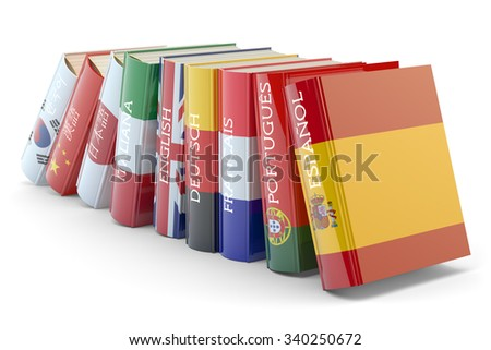 Foreign languages learn and translate education concept, books with covers in colors of national flags of world countries isolated on white - stock photo
