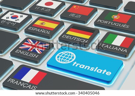 Foreign languages translation concept, online translator, macro view of computer keyboard with national flags of world countries on keys and blue translate button - stock photo