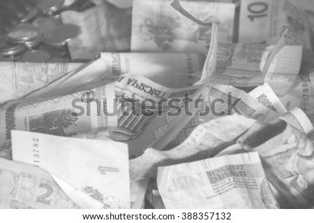 Foreign money collage background. Bank notes from different countries, black and white - stock photo