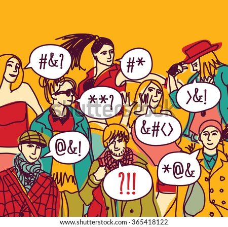 Foreigner foreign language misunderstanding people.  Color illustration.