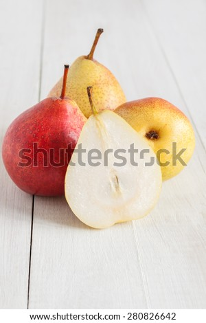 Forelle Pears an heirloom variety of Pyrus communis the European pear or common pear - stock photo