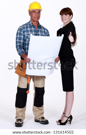 foreman and architect - stock photo