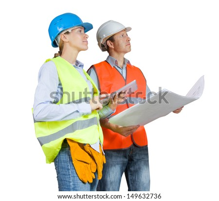 Foreman and engineer with blueprints isolated on white - stock photo