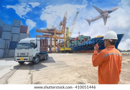 Foreman control loading Containers box from Cargo freight ship with truck for Logistic Import Export background (Elements of this image furnished by NASA) - stock photo