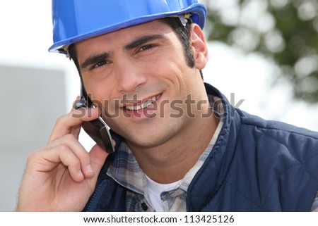 Foreman making a call - stock photo
