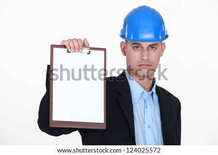 foreman showing clipboard isolated on white - stock photo