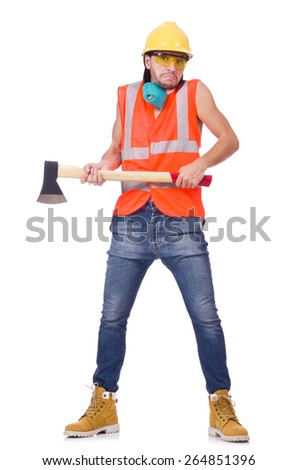 Foreman with axe isolated on white - stock photo