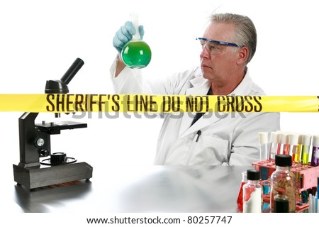 forensic analysis working in a lab collecting and documenting evidence collected from a crime scene. isolated on white with room for your text - stock photo