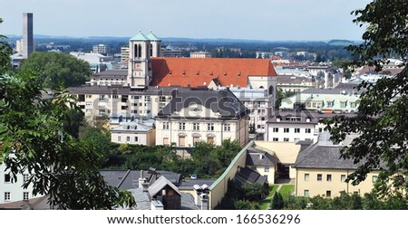 foreshortening in Salzburg, Austria - stock photo