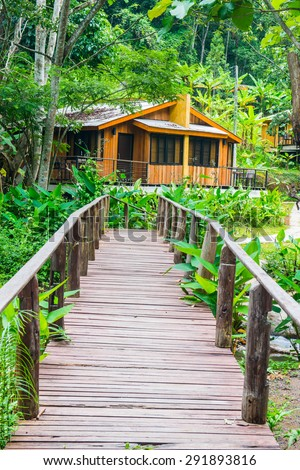 Forest and holiday homes in country, Thailand. - stock photo