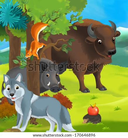 Forest animals - illustration for the children - stock photo