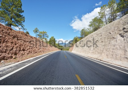 forest carcked mountain road - stock photo