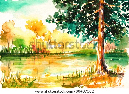 Forest close to the lake in summer time.Picture I have painted myself with watercolors. - stock photo