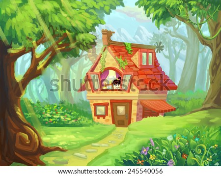 Forest Cottage - Illustration for children - stock photo
