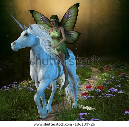 Forest Fairy and Unicorn - A fairy rides a white unicorn down a path in the magical forest. - stock photo