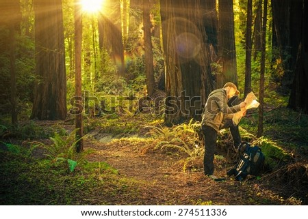 Forest Hiking Man with Backpack Checking Map. Forest Adventures Concept. - stock photo