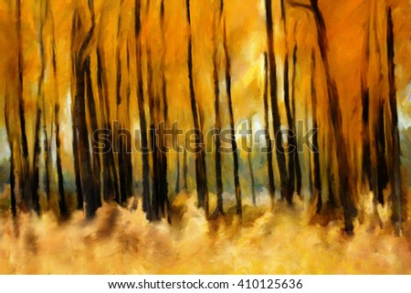 Forest in autumn, oil painting artistic background, golden and red dominant colors