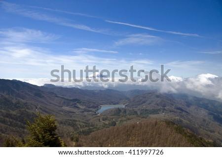 forest , lake, and mount Fuji; the view from the Daibosatsurei, Yamanashi, Japan - stock photo