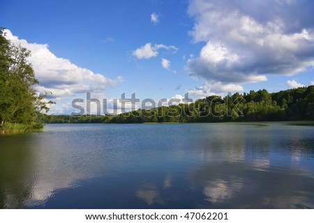 Forest Lake, summer - stock photo