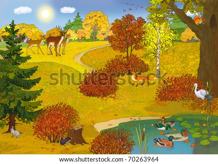 forest landscape with a lake and animals in autumn - stock photo