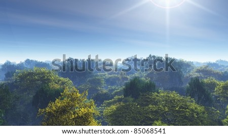 forest mist and sun illustration - stock photo